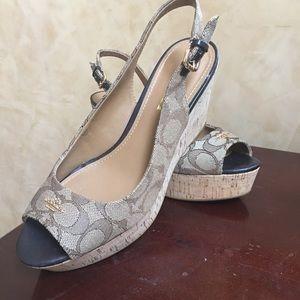 """COACH - Khaki & Signature """"C""""Cork Wedge Sandals"""